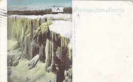 Greetings From America - Niagara Fall In The Winter - 1900    (A-41-160625) - NY - New York