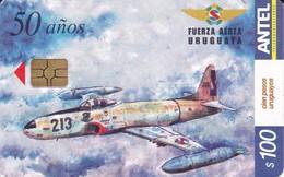 Nº 312 TARJETA DE URUGUAY DE UN AVION DE LAS FUERZAS ARMADAS 100$ (PLANE) - Uruguay