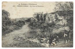 CPA - PERROS GUIREC, UN COIN DE TRESTRAOU - Côtes D' Armor 22 - Circulé 1908 - Vaches, Bovins - Perros-Guirec