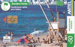 Nº 315 TARJETA DE URUGUAY DE LA BANDERA VERDE 50$ - Uruguay