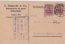 Allemagne Timbres Perforés Perfins Sur Carte Elberfeld 1922 - Cartas