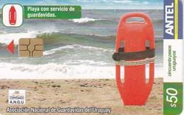 Nº 317 TARJETA DE URUGUAY DE SERVICIO DE GUARDAVIDAS 50$ - Uruguay