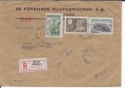 FINLANDE - 1950 - ENVELOPPE RECOMMANDEE De HELSINKI => MULHOUSE - Briefe U. Dokumente