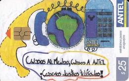Nº 320 TARJETA DE URUGUAY DE DIBUJO ESCOLAR 3º PREMIO - Uruguay