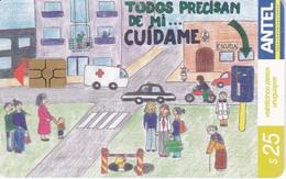 Nº 321 TARJETA DE URUGUAY DE DIBUJO ESCOLAR MENCION ESPECIAL - Uruguay