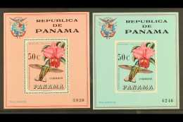 BIRDS PANAMA 1967 50c Mini-sheet Featuring Hummingbird And Orchid, Scott 478f, But Imperf In Unissued Blue... - Stamps