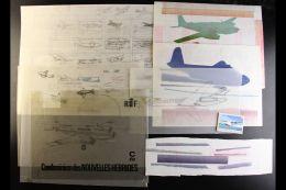 AIRCRAFT ORIGINAL ARTWORK A Unique Collection Of Original Tracings, Drawings, Transparencies, Colour Schemes Etc,... - Stamps