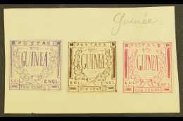 """ENGLISH GUINEA ? A Group Of Three 1861 Hand Painted Stamp Sized Essays Produced In France And Inscribed """"GUINEA""""... - Stamps"""