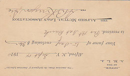 Receipt From The Office Of The A.M.L.A. - Postal Card - 1910    (A-41-160625) - NY - New York