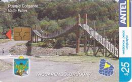 Nº 327 TARJETA DE URUGUAY DEL PUENTE COLGANTE DEL VALLE EDEN (CHIP G4 NEGRO) - Uruguay