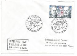 OBLITERATION SERVICE PHILATELIQUE DES PTT PARIS 1976 INTERPHIL PHILADELPHIE - Marcophilie (Lettres)