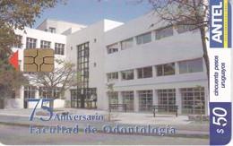 Nº 336 TARJETA DE URUGUAY DE 75 ANIVERSARIO FACULTAD DE ODONTOLOGIA (CHIP G5 ROJO) - Uruguay