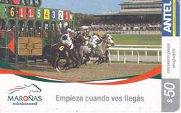 Nº 339 TARJETA DE URUGUAY DE MAROÑAS ENTERTAIMENT (CHIP G4 NEGRO) CABALLO-HORSE - Uruguay