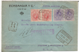 IRUN GUIPUZCOA CC CERTIFICADA A USA AL DORSO MAT TRANSITO Y LLEGADA 1922 - 1889-1931 Royaume: Alphonse XIII