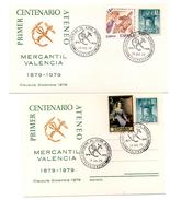 Carta + Tarjeta  Con Matasello Commemorativo  Centenario Del Ateneo Mercantil  1979 Con Sello  Del Plan Sur De Valencia. - 1931-Hoy: 2ª República - ... Juan Carlos I