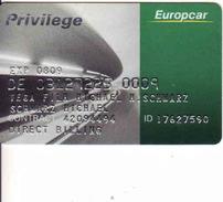 Privilege Europcar Card, PLASTIC Magnetic Card, Auto, Car - Cars