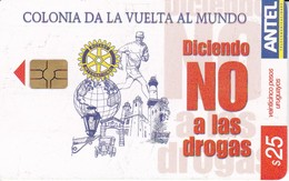 Nº 374 TARJETA DE URUGUAY DE NO A LAS DROGAS (ROTARY) - Uruguay