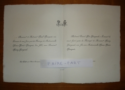 FAIRE-PART MARIAGE 1906 GARGAUD # PASQUET Cubjac Puyboissier Thenon Dordogne Périgord Généalogie - Mariage