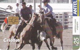 Nº 387 TARJETA DE URUGUAY DE LOS CROLLOS (CHIP G5 ROJO) CABALLO-HORSE - Uruguay