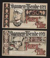 Notgeld - Parey A. D. Elbe - 50 Pf. + 1 Mk. Schein Der Spar- + Creditbank Parey - Bismarck +  Friedrich Der Große - [11] Local Banknote Issues