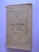 LIVRE 1930 AIDE MEMOIRE POUR LES TRAVAUX DU GENIE - Livres