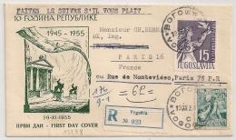 REGISTERED COVER Vogosca JUGOSLAVIJA To France. YOUGOSLAVIE. 1955. - 1945-1992 Repubblica Socialista Federale Di Jugoslavia