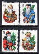 USA 2001 Christmas Santa Claus Set Of 4 Self-adhesive 20x26mm Booklet Stamps, MNH (SG 4010/3) - Etats-Unis