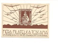 M4414 Fiera Filatelica Toscana 1935 Viareggio Cartolina Ufficiale Nuova - Manifestations