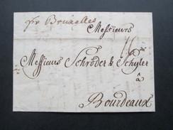 AD / Vorphila Preussen 1749 Brief Von Cölln (Köln) Nach Bordeuax. Bartaxe. Brüssel Transit Vermerk. - [1] Préphilatélie