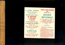 Horaires : Table Des Marée Région De CONCARNEAU 1959 Offert Par La Loterie Nationale - Europe