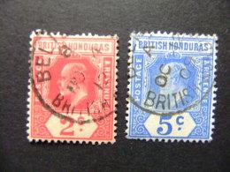 HONDURAS BRITANNIQUE 1908 - 11 Roi EDOUARD VII Yvert 70 + 71 FU - British Honduras (...-1970)
