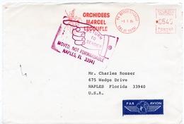 """1984 - Obl. SECAP Type NA - ORCHIDEES MARCEL LECOUFLE - Par Avion Pour Les USA """"RETOUR A L'ENVOYEUR"""" (devant D'envelop.) - Poststempel (Briefe)"""