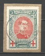 """(R149) - Belgique - Albert Ier Croix Rouge - N°132 V3 - """"torsade"""" Avec Croix Rouge De Gauche En 4 - Obl. Sur Fragment - Variétés (Catalogue COB)"""