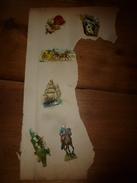 Année 1889 :Page De 6 Chromos Découpis (Petits Chats,espiègles Dans Un Panier,Fleurs,Diligence,Voilier,Soldat à Cheval) - Victorian Die-cuts