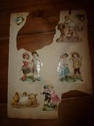 Année 1889 :Page De 7 Chromos Découpis (Enfant Sur Un Chien ,3 Couples D'enfants Modèles,Chaton,Chiot, Poussins,etc ) - Enfants