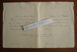 FAIRE-PART MARIAGE 1911 DELPERIER # SOYMIER Bergerac Périgueux Dordogne Périgord Généalogie - Mariage