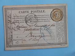 CERES DENTELE 59 SUR PRECURSEUR DES CARTES POSTALES DE EVREUX A BERNAY DE L'EURE DU 29 MAI 1876 - 1849-1876: Période Classique