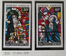 PAINTINGS COLLECTION DG - GABON 1973 Yv 326-327 Cplte Set 2v. MNH - 100th Anniv Birth Of St Theresa Of Lisieux Basilica - Gabon