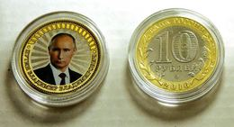 Russia, 2016, V.V.Putin, Colored 10 Rbl  Rubels Rubles Bi-metallic Coin - Russland