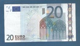EURO - CIPRO - 2002 - BANCONOTA DA 20 EURO TRICHET SERIE G (G013H4) - CIRCOLATA-CIRCULATED - IN BUONE CONDIZIONI. - EURO