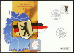 Germany Berlin 1992 / Die Wappen Der Deutschen Bundesländer / Phonecard Cover / Telefonkarten Brief - O-Series : Series Clientes Excluidos Servicio De Colección