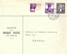 """Motiv Brief  """"Société De Banque Suisse, Le Locle""""  (Mischfrankatur / Markenabart)            1939 - Svizzera"""