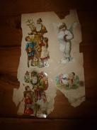 Année 1889 :Page De  4 Chromos Découpis ( Pères Noël Avec  Des Enfants, Ange , Bambins Jouants. - Victorian Die-cuts