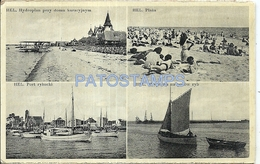 73470 POLAND POLONIA HEL PORT SHIP BEACH & AVIATION MULTI VIEW CARD NO POSTAL POSTCARD - Poland