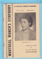 """Montreal Quebec  - La Symphonie Feminine De Montreal """" Ethel Stark Violoniste"""" 24 Pages,  Janvier 1945, 3 Scans - Programmes"""