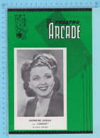 """Comedienne Germaine Giroux Montreal Quebec  - Theatre Arcade - """" Amours""""  Fevrier 1944 -8 Pages, 3 Scans - Programmes"""