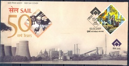 J222- FDC Of India 2009. Steel Authority Of India SAIL Steel Factory, Alloey, Iron. - India
