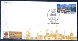 J225- FDC Of India 2009 Indian Oil Mineral Petroleum. Petrol Pump & Refinery. - Covers & Documents