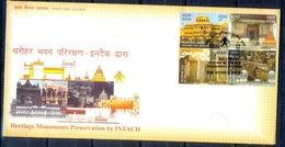 J227- FDC Of India 2009. Heritage Monuments Preservation By INTACH Building Architecture Fort Church. - Covers & Documents