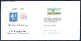 J254- Deutschland Germany Postal History Post Card. ATM Machine Label Stamp. - Machine Stamps (ATM)
